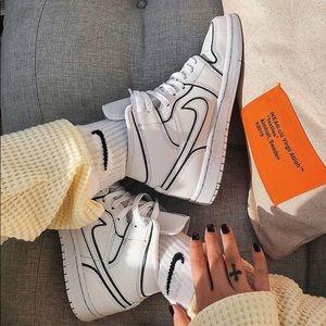 White & Black Customs Nike Air Jordan's